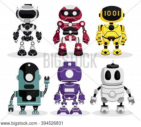 Robots Character Vector Set. Robotic Characters With Modern Technology For Robots Collection Design