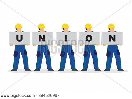 A Group Of Blue Collar Workers With Placards To Form The Text Union. Concept Of Worker Union Or Team