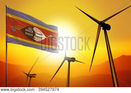 Swaziland Wind Energy, Alternative Energy Environment Concept With Turbines And Flag On Sunset - Alt