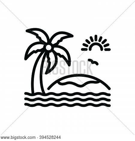 Black Line Icon For Island Beach Landscape Paradise Sea Water Sun Water-wave Palm-tree Foliage Envir