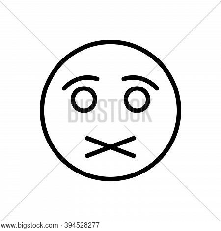 Black Line Icon For Shut Lockfast High-necked Quiet Secret Silence Hush Keep-quiet Restriction Mouth
