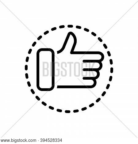 Black Line Icon For Totally Completely Absolutely Entirely Thumb Ok All-right Agreed Satisfactory Ve