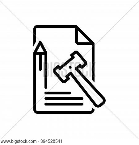 Black Line Icon For Principle Truth Tenet Doctrine Law Enactment Lawmaking Law-and-order Legal Lawfu