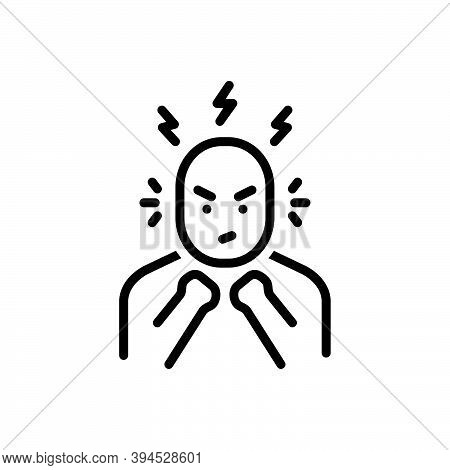 Black Line Icon For Anger Rage Ire Furor Irritation Frustration Stress Desperate Frustrated Exhausti