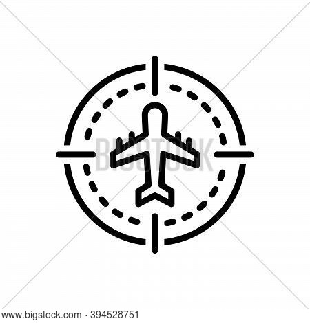 Black Line Icon For Sight Eyesight Vision Ability-to-see Flight Plan Aeroplane Flying Aircraft Airli