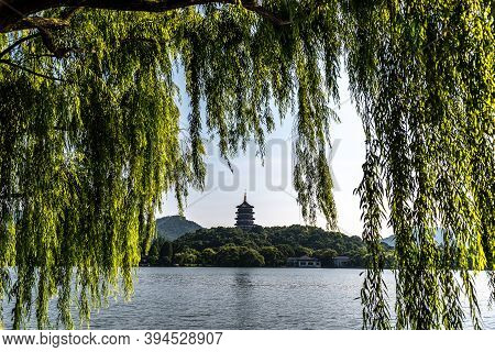 Leifeng Pagoda Is A Five Stories Tall Tower With Eight Sides, Located On Sunset Hill South Of The We