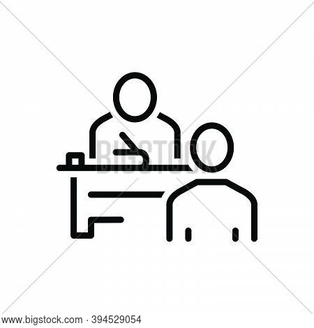 Black Line Icon For Examination Test Exam Inquiry Questioning Study Trial Student Pupil Teacher