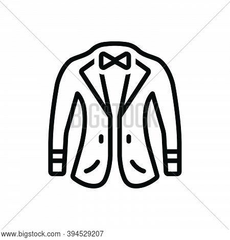 Black Line Icon For Coat Fabric Garments Wear Attire Jacket Coating Fashionable Denim