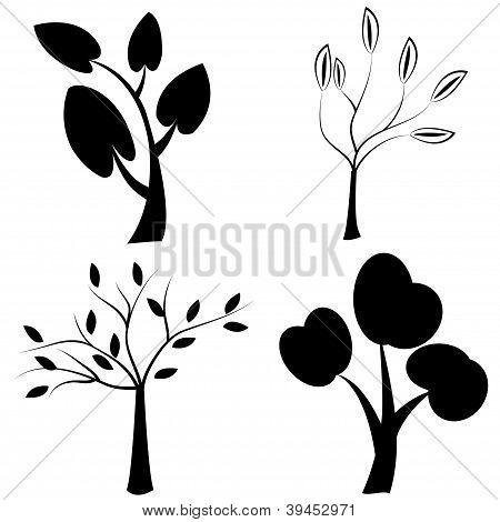 Set Of Black Trees Silhouettes
