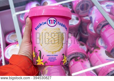 Tyumen, Russia-november 07, 2020: Baskin Robbins Brand Ice-cream In Buckets. Baskin Robbins Is A Glo