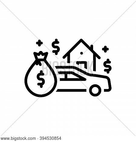 Black Line Icon For Asset Heirloom Patrimony Expenditure Money Budget Finance  House Money-wage Car