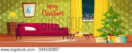 Cozy Living Room Interior Decorated For Christmas Holidays. Cartoon Vector Illustration With Red Sof