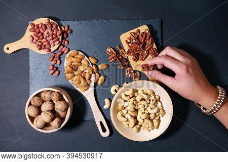 Walnuts, Cashew, Almond, Pecan, Hazelnut, Peanuts Healthy Super Food Mix Of Nuts Top View