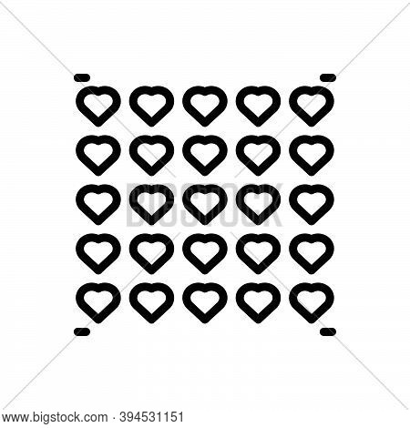 Black Line Icon For Much Plenty Overmuch More More-than Pattern Heart Graphic Decorative