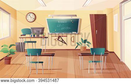 Classroom For Mathematics, Geometry, Algebra Subjects. Cartoon Interior With Chalkboard, Clock On Th