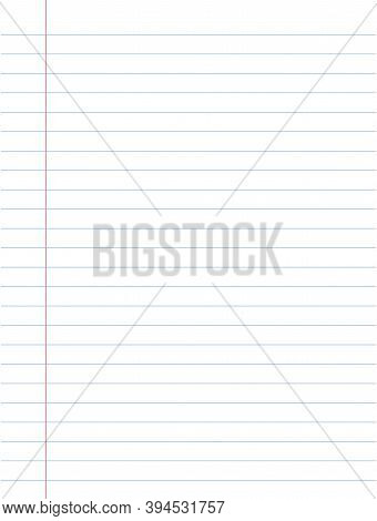 Notebook Paper Background. A Sheet Of White Striped Paper With A Left Margin. School Concept.