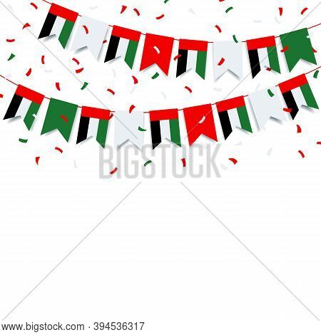 Vector Illustration Of National Day United Arab Emirates. Garland With The Flag Of Uae On A White Ba