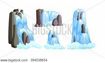 Waterfall Cascades In Mountains For Paradise Landscapes. Set Of Water Cascades Splasing Down From Th