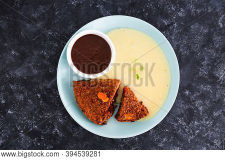 Healthy Plant-based Food Recipes Concept, Vegan Lentil Loaf With Carrots And Onions Served With Mush