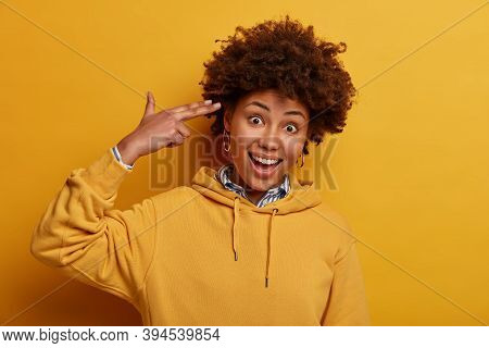 Crazy Funny Female Has Afro Hairstyle Makes Suicide Gesture, Pretends Killing Herself And Shoots Wit