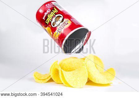 Box Of Pringles Chips Original Isolated On White. Kiev, Ukraine - November, 2020