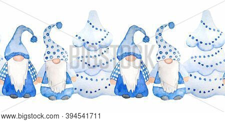 Watercolor Hand Drawn Seamless Horizontal Border Of Christmas Nordic Scandinavian Fairy Gnome. Desig
