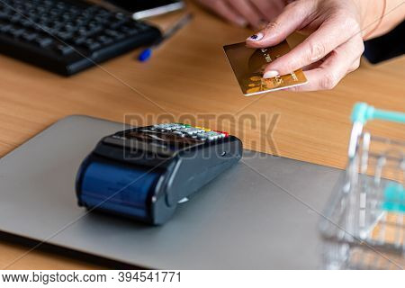 Woman Using Payment Card Terminal To Shop Online With Credit Card, Credit Card Reader, Finance Conce