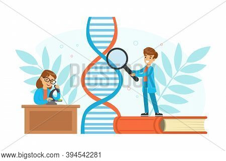Boy And Girl Scientists Characters Experimenting With Dna Structure, Children Doing Scientific Exper