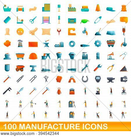 100 Manufacture Icons Set. Cartoon Illustration Of 100 Manufacture Icons Vector Set Isolated On Whit