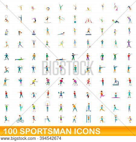 100 Sportsman Icons Set. Cartoon Illustration Of 100 Sportsman Icons Vector Set Isolated On White Ba