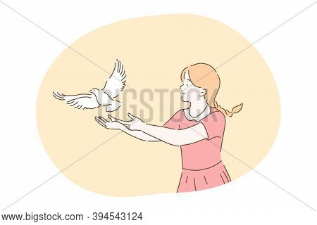 Freedom, Peace, Harmony, Release, Kindness Concept. Young Kind Smiling Girl Cartoon Character In Dre