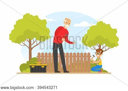 Grandpa And Grandson Repairing Fence In The Backyard, Grandfather Spending Time With Grandchild Cart