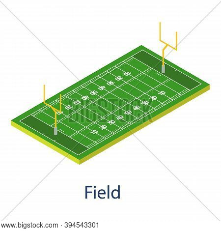 American Football Field Icon. Isometric Of American Football Field Vector Icon For Web Design Isolat