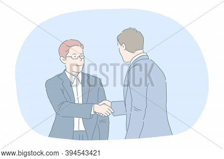 Agreement, Deal, Business, Successful Negotiations, Teamwork Concept. Young Businessmen In Official