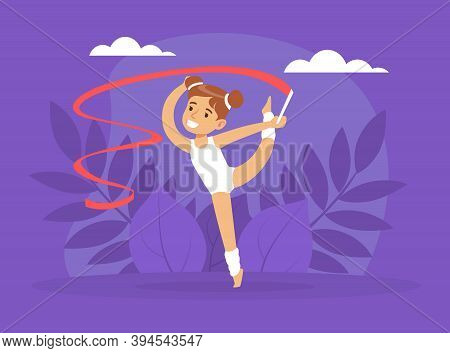 Cute Girl Performing Gymnastic Exercise With Ribbon, Gymnast Girl Taking Part In Rhythmic Gymnastics