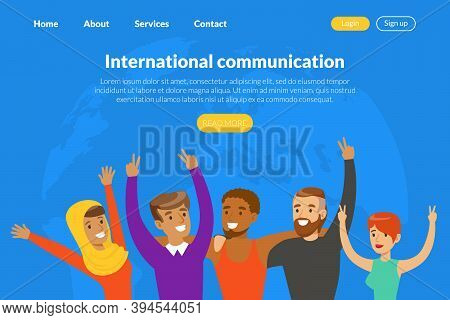 International Communication Landing Page Template, People Of Various Nationalities And Cultures Comm