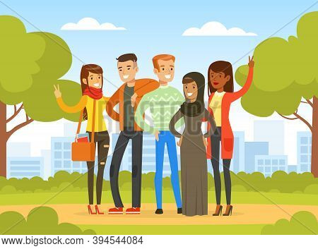 Happy People Of Various Nationalities And Cultures Standing Together In Park, Social Diversity, Inde
