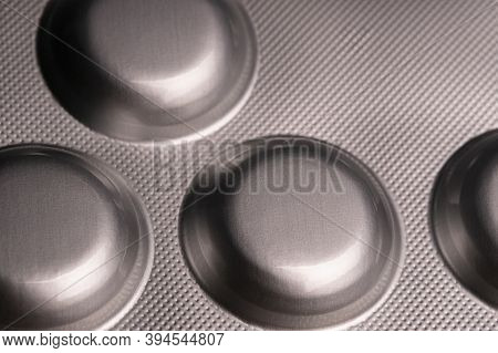 Close Up View Of A Silver Blister With Medical Pills