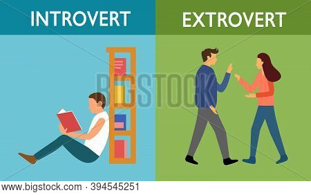 Introvert And Extrovert Personality Character Concept Vector Illustration. Introvert Man Enjoy Readi