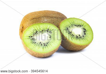 Isolated Kiwi. One Kiwi Fruit Cut In Halves Isolated On White Background