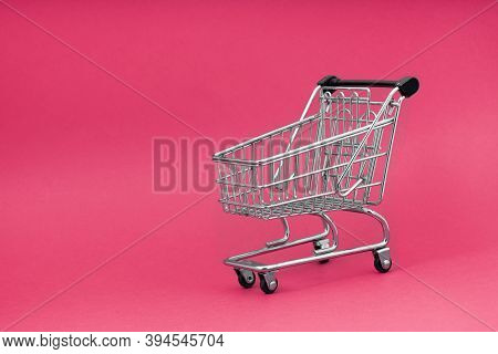 Black  Cart Store Trolley Over Pink Background, Design For Black Friday
