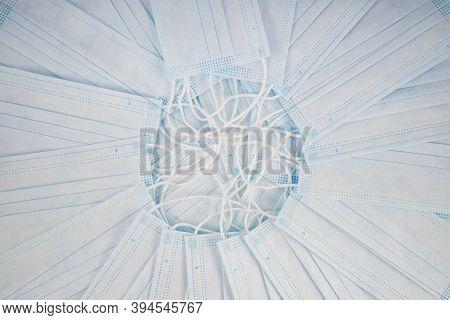 White Medical Masks Background. Medical Protective Masks Over Light Background. Healthcare And Medic