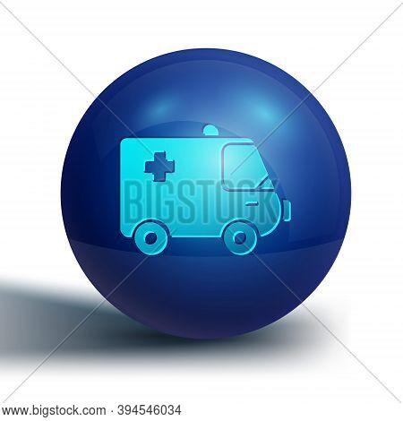 Blue Ambulance And Emergency Car Icon Isolated On White Background. Ambulance Vehicle Medical Evacua