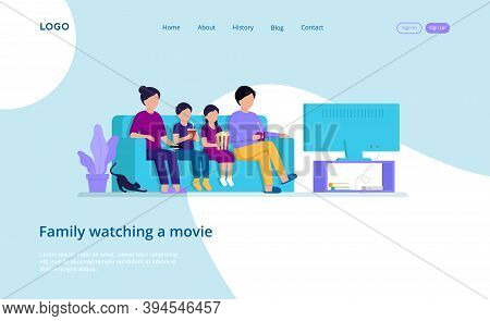 Illustration In Cartoon Style With Vector Male And Female Flat Characters. Webpage Template Composit