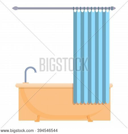 Shower Curtain Hygiene Icon. Cartoon Of Shower Curtain Hygiene Vector Icon For Web Design Isolated O