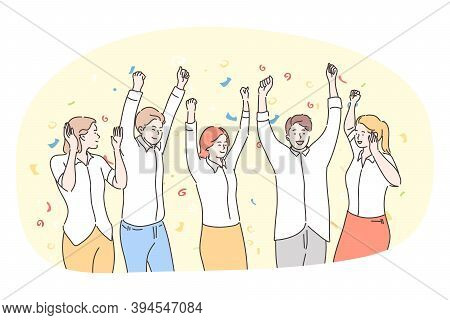 Party, Having Fun, Celebration, Holiday Concept. Group Of Happy Smiling People Friends Teens Dancing