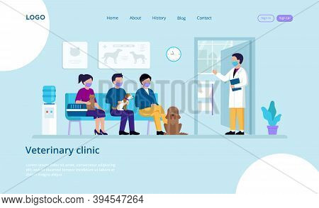 Vector Illustration Of Veterinary Clinic With Inscriptions And Buttons. Website Template Elements. C
