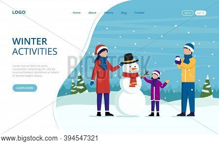 Illustration In Cartoon Flat Style On Winter Activities Concept. Vector Webpage Template Design With