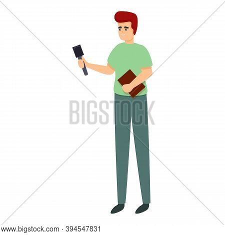 Interview Reportage Icon. Cartoon Of Interview Reportage Vector Icon For Web Design Isolated On Whit