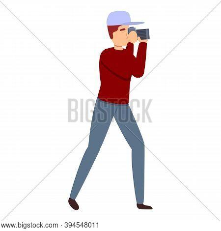 Reportage Photographer Icon. Cartoon Of Reportage Photographer Vector Icon For Web Design Isolated O